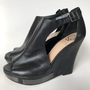 Vince Camuto Black Leather Open Toe Wedges